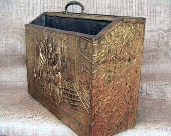 Vintage Brass Magazine Storage Box  English Shop Magazine Rack Home Decor