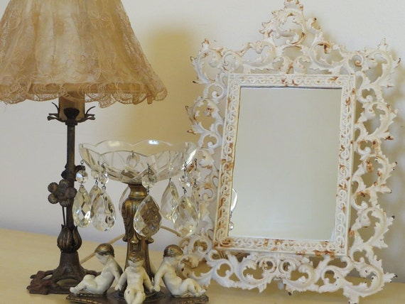 Large antique cast iron victorian stand up mirror vintage for Large stand up mirror