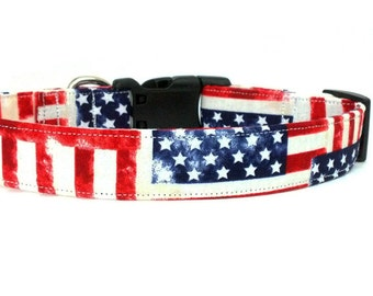 Patriotic Stars and Stripes American Flag Rustic Dog Collar OR Leash