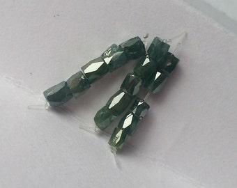 Blue Diamond Beads Genuine Faceted Tube Diamond Beads Natural Diamond Beads 5pc Set Free Ship