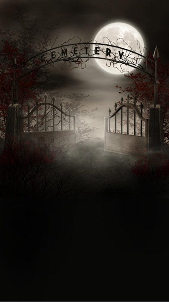 Foggy Cemetery Photography Backdrop