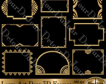 15off coupon digital art deco frames borders clipart 9 art deco digital frames gold metallic clip art deco web graphics clipart art deco