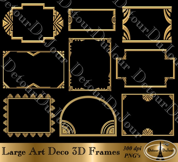 12 off coupon art deco frames 9 art deco borders 3d digital clip art art deco clipart art deco metallic gold frames commercial use from detourdujour