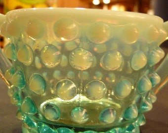 One (1) Fenton Cinderall Blue Opalescent Glass Hobnail Mini Sugar Container
