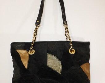 Vintage Black Leather Patch Bag