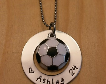 Hand Stamped Personalized Soccer Necklace - Girls Soccer Necklace