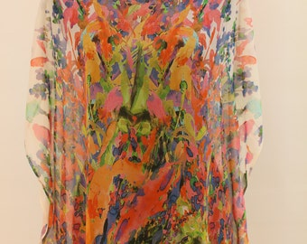 Poly CHIFFON CAFTAN KAFTAN Top Sheer floral pattern Digital Print New Hand Made
