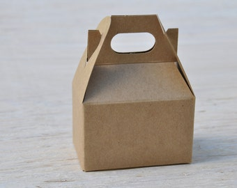 10 Mini 4x2.5x2.5 Natural Kraft Gable Boxes Mini Favor Boxes with Handles