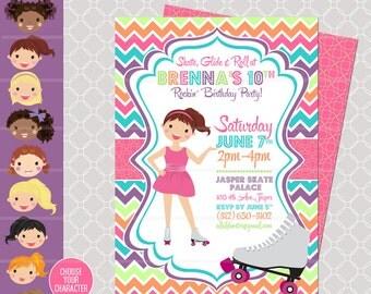 Roller Skating Birthday Party - Skating Invitation - Roller Blading printable - Skating Birthday Party - Girl Birthday Invitation - Skate