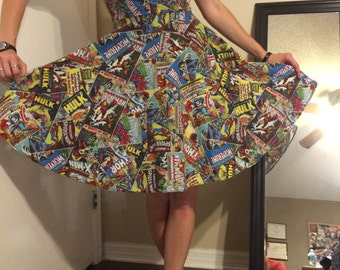 MARVEL Comic book PINUP Dress! Expedited Shipping. CUSTOM to Your measurements. Spiderman Wolverine Thor Ironman Capt America Hulk