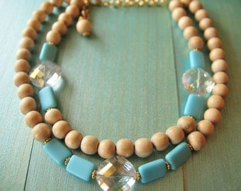 Turquoise Blue and Beige Statement Bib Necklace, Statement Blue Bib Necklace, Blue Bib Necklace, Multi strand Bib Statement Necklace