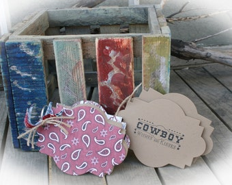Cowboy Baby Shower- Wishes and Kisses Tag Book - Guest book alternative