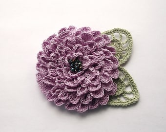lilac crochet flower brooch, lilac crochet brooch, flower brooch, handmade, crochet pin, accessory,corsage,wedding,mother of the bride.