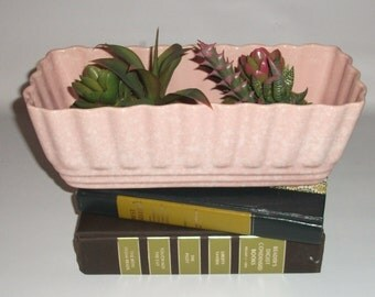 Vintage Pink Planter, Scalloped, Rectangle, Ceramic, Pottery, USA, 27-10