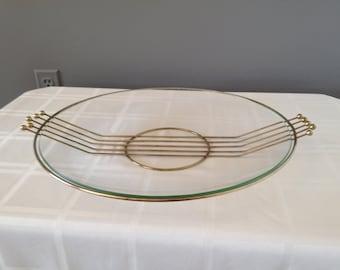 Glass platter ,atomic ball design, vintage