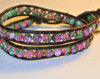SALE NOW 15% OFF Reversable Pink or / and Green 2 Wrap Around Brown Leather Bracelet
