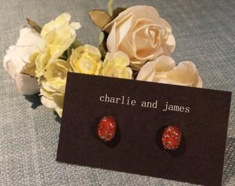 Glass Fire Opal Stud Earrings