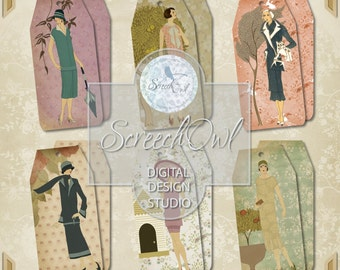 ONE DOLLAR SALE - Gift Tags, Hang Tags, Labels, Collage Sheet, Scrap Booking, Scrapbooking, Stationery, 1920's Fashion, Paper Craft Supplies