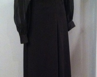 1960s-70s Vintage Black Dress. Rhinestone Buttons. Size Small. FREE US Shipping!