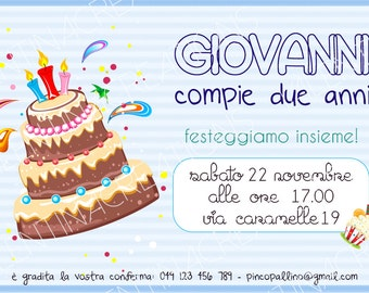 """Birthday party invitation """"cupcake"""" as a child"""