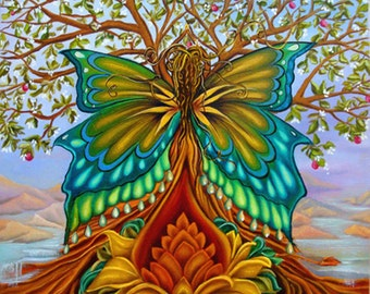 original oil painting Tree of Life, Rainbow colored oil painting, Butterfly Goddess painting, Lotus flower oil painting,Goddess art