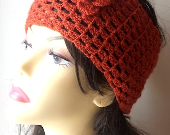Hand Knit Headband, Hair Accessories, brick red crochet headband with flower for women