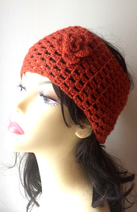 Hand Knit Headband, Hair Accessories, brick red crochet headband with flower for women