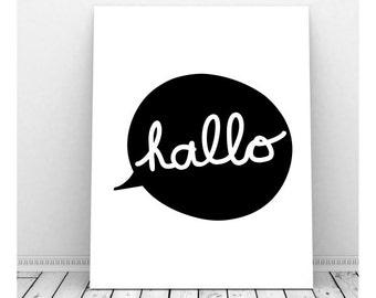 Danish Hello, German Hello, German Language, Hello Sign, Hello Poster,  Hello Printable, Hello Paper, Hallo, Hello Wall Art, Greeting