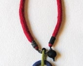 felt necklace, wool felt, hand made, gift, art jewelry, multicolored - totalhandmadeD