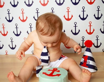 Nautical Ship Anchors Backdrop Anchor Photography Background Is Perfect For Baby Sailors - Red & Blue Backdrop (FD2027)