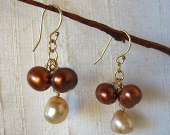 Bronze and Gold Pearl 14K Gold Filled Handmade Earrings