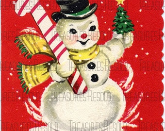 Snowman With Candy Cane & Tree Christmas Card #309 Digital Download