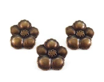 Hibiscus Flower Metal Buttons 14mm Antique Brass Bronze Qty 3