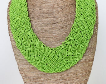 Beaded Necklace/ Chunky Beaded Jewelry/ Statement Necklace/ Bib Necklace/Green Necklace/Bohemian Necklace/Braided Necklace.