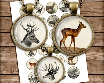"Woodland animals 1 inch 30mm 20mm 25mm 1.5""  Round Images Deer, Moose for Bottle caps Digital Collage Sheet Instant Download"