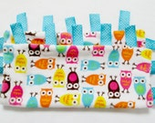 Colorful owl minky security ribbon blanket.  Turquoise, Pink, Yellow Owls tabby blankie. Blue ribbon minky carry along blanket. Baby gift.