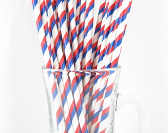 25 Red & Blue Stripe Paper Straws | Red Party Straws | Blue Drinking Straws | Red Blue Stripe Straws | 4th July Straws