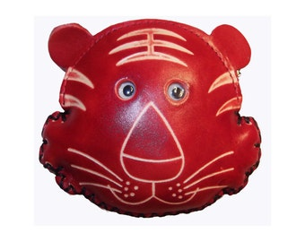 Tiger Purse - Romeo the Tiger - Red Leather Handmade Tiger Coin Purse with Wrist Strap - Item #1073