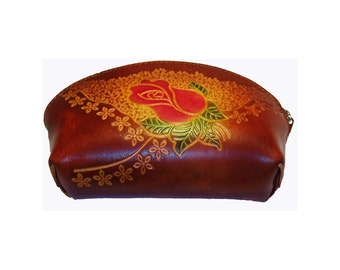 Red Rose Coin Purse - Brown Leather Handmade Gift with Wrist Strap - Item #1164