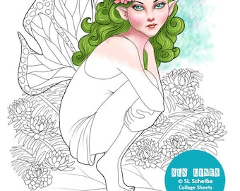 Digital stamp Nature Fairy Flower Fairy coloring page instant download