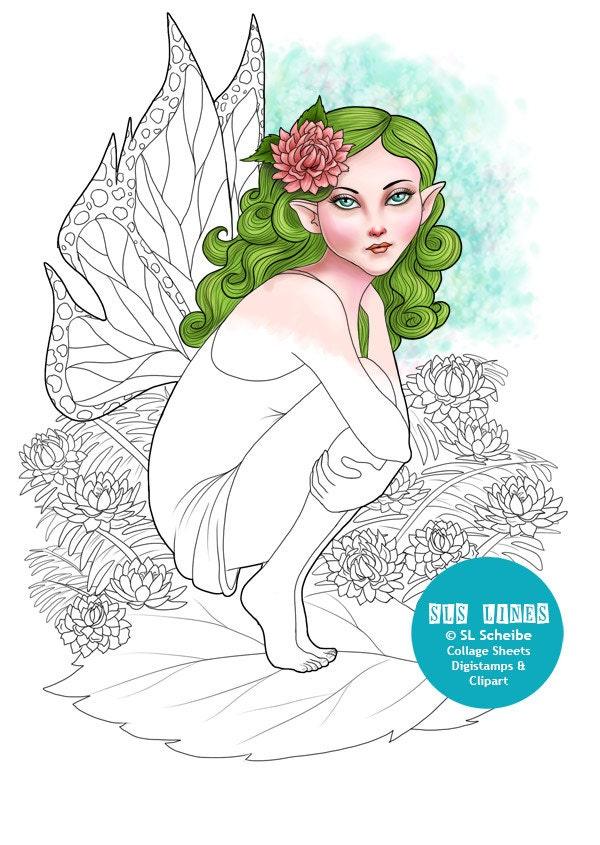 digital stamp nature fairy flower fairy coloring page instant. Black Bedroom Furniture Sets. Home Design Ideas