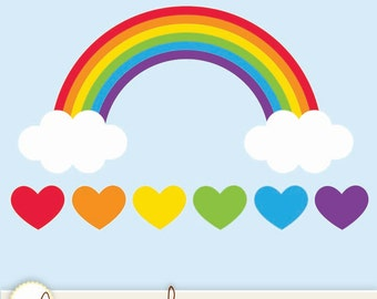 Rainbow with Clouds and Hearts - Digital Clip Art, Vector EPS File, PNG and JPEG