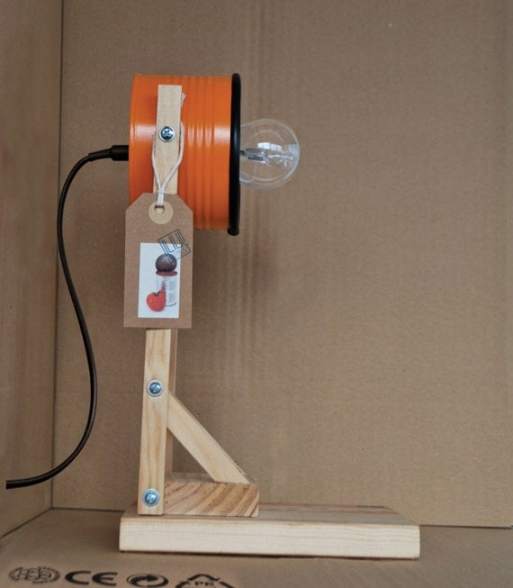 Orange  desk lamp / bedside lamp / table lamp  - eco friendly: recycled from tomato can !!! UK or EURO or US plug