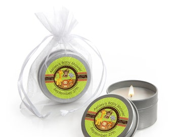 Safari Jungle Candle Tin Favors - Personalized Baby Shower Party Favors - 12 Count