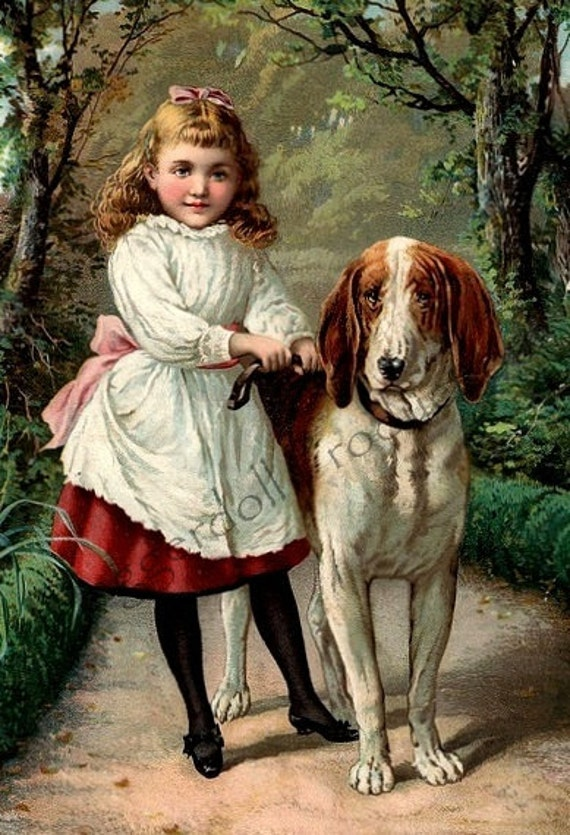 Antique Victorian Illustration- Instant Download- A Girl & Her Dog- Digital Scan- Printable Victorian Art
