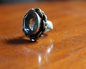 VIntage Sterling Silver RIng with Faceted Blue Glass Stone