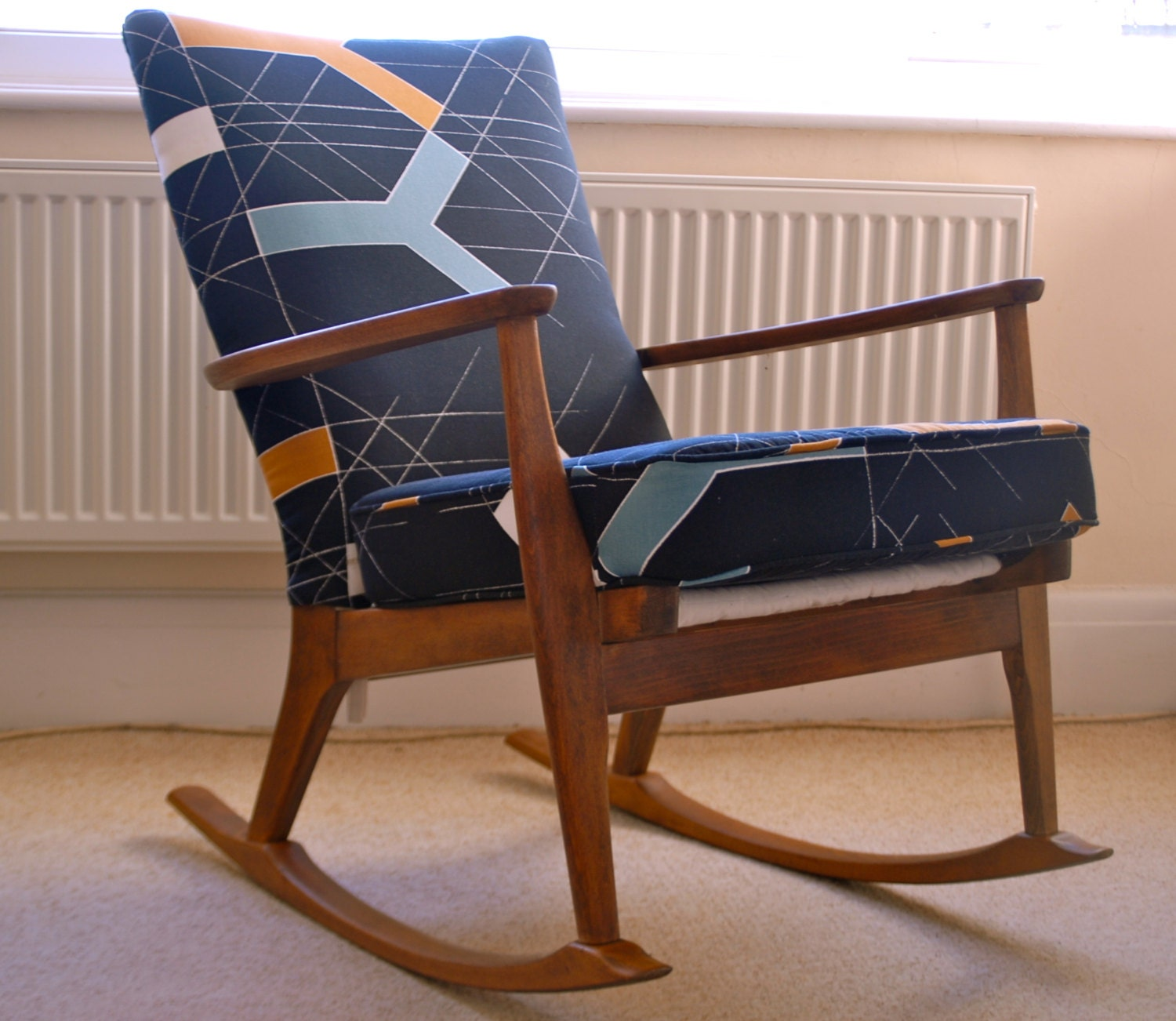 Sold vintage parker knoll rocking chair re upholstered mid - Knoll rocking chair ...