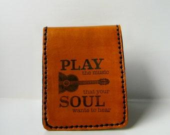 Mens Wallet, Men's Leather Wallets, Guitar Wallet, single fold, five interior pockets, For Music Lovers, Mens Gift Idea, Handmade Wallets