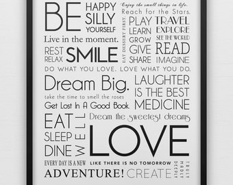Inspirational quotes typography art print poster, black & white, resolutions, dream
