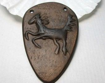 Tribal Rustic Bronze Clay Horse Pendant